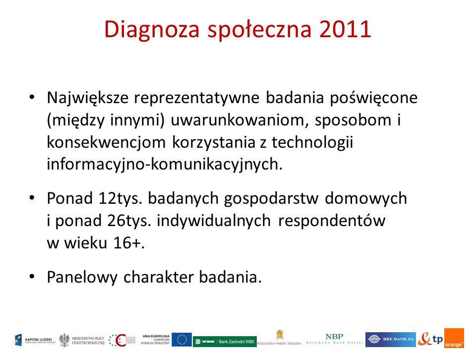 Diagnoza społeczna 2011 Największe reprezentatywne badania poświęcone (między innymi) uwarunkowaniom, sposobom i konsekwencjom korzystania z technologii informacyjno-komunikacyjnych.