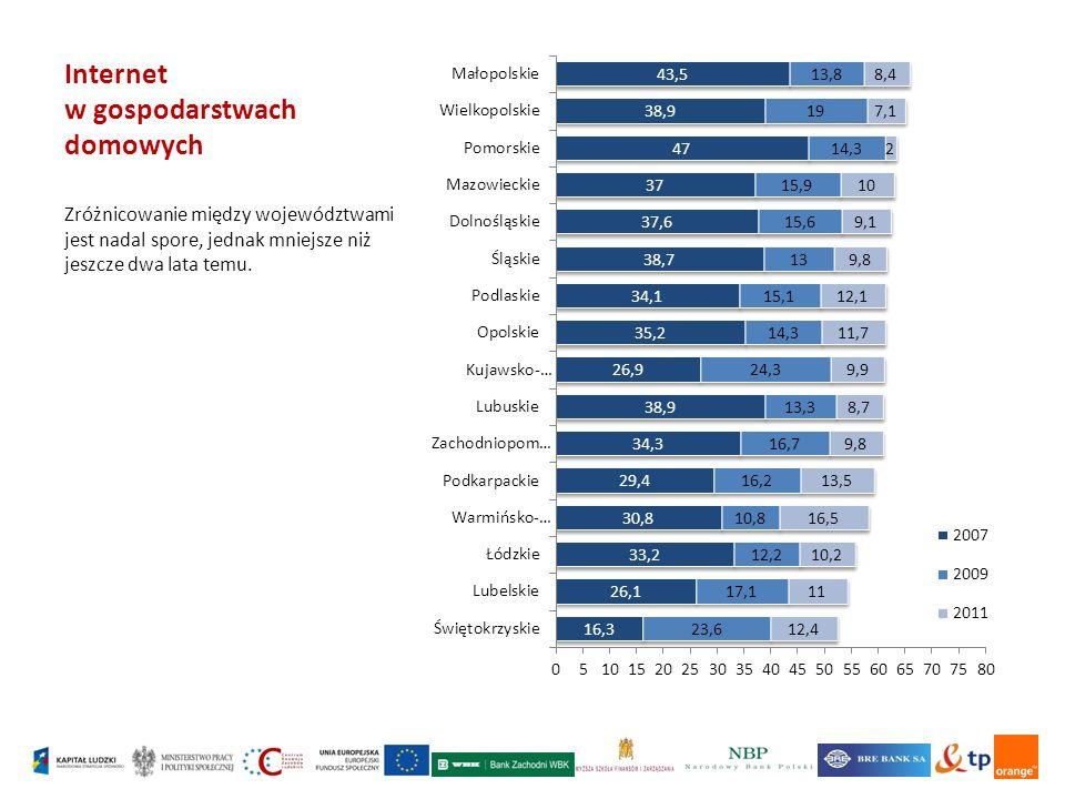 Internet w gospodarstwach domowych Zróżnicowanie między województwami jest nadal spore, jednak mniejsze niż jeszcze dwa lata temu.