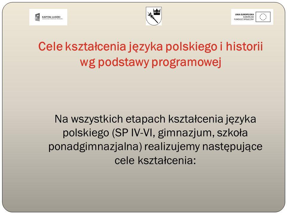 Cele kształcenia języka polskiego i historii wg podstawy programowej Na wszystkich etapach kształcenia języka polskiego (SP IV-VI, gimnazjum, szkoła p