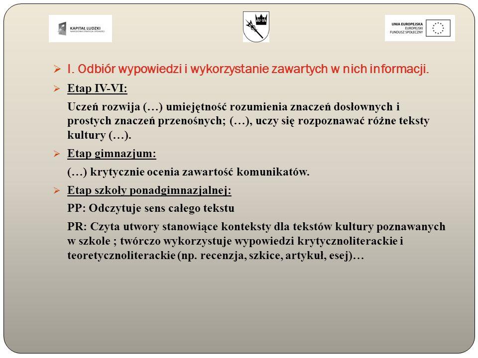  I. Odbiór wypowiedzi i wykorzystanie zawartych w nich informacji.  Etap IV-VI: Uczeń rozwija (…) umiejętność rozumienia znaczeń dosłownych i prosty