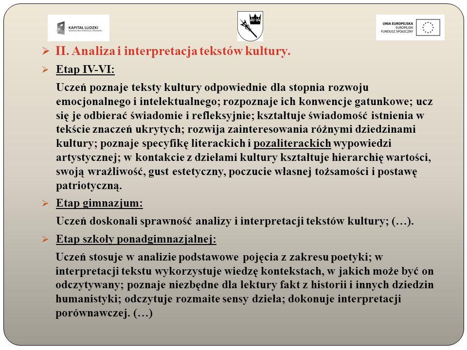  II. Analiza i interpretacja tekstów kultury.  Etap IV-VI: Uczeń poznaje teksty kultury odpowiednie dla stopnia rozwoju emocjonalnego i intelektualn