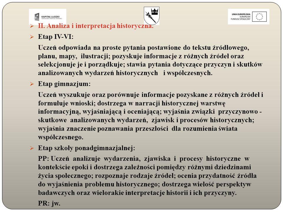  II. Analiza i interpretacja historyczna.  Etap IV-VI: Uczeń odpowiada na proste pytania postawione do tekstu źródłowego, planu, mapy, ilustracji; p