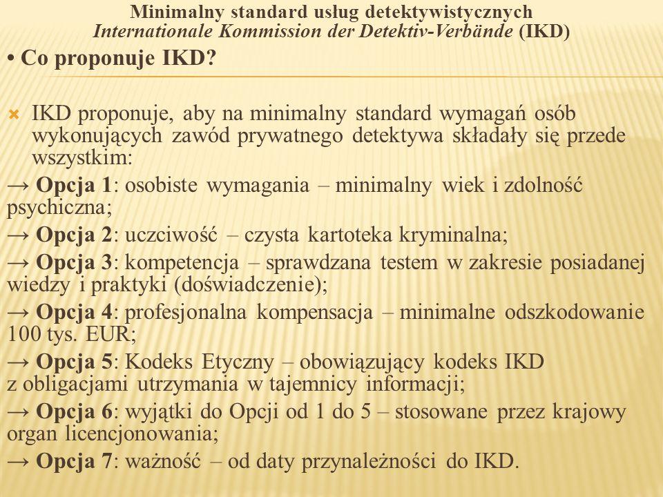 Minimalny standard usług detektywistycznych Internationale Kommission der Detektiv-Verbände (IKD) Co proponuje IKD?  IKD proponuje, aby na minimalny
