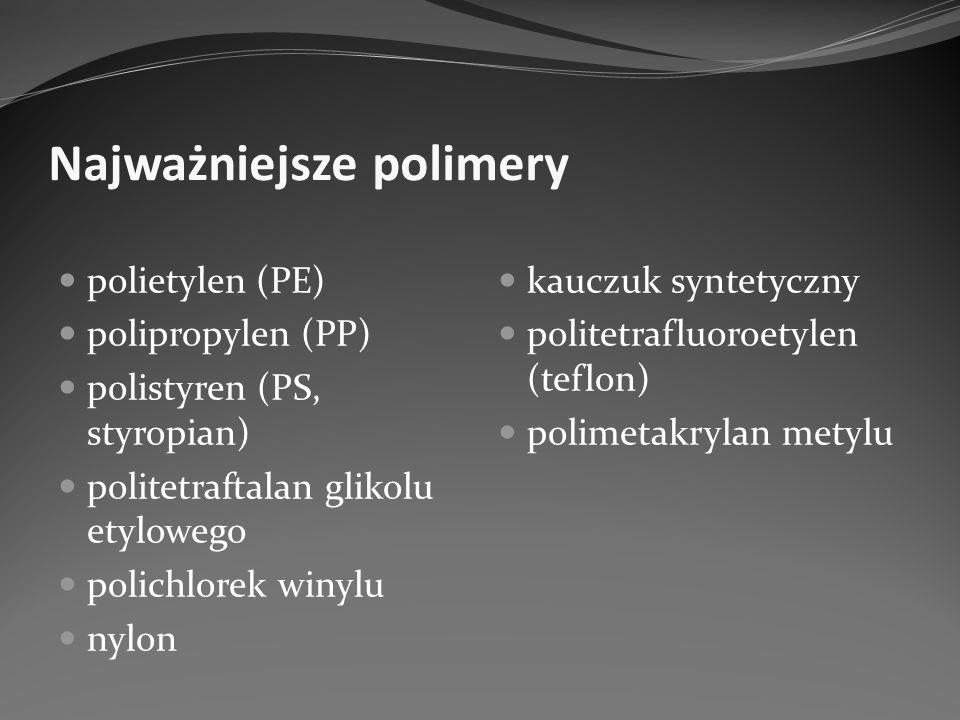Najważniejsze polimery polietylen (PE) polipropylen (PP) polistyren (PS, styropian) politetraftalan glikolu etylowego polichlorek winylu nylon kauczuk