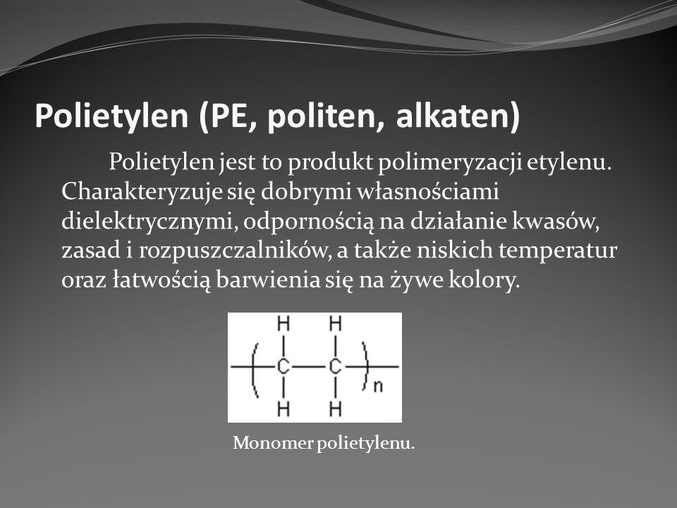 Polietylen (PE, politen, alkaten) Zastosowanie: w przemyśle farmaceutycznym i spożywczym jako opakowanie z cienkiej folii w przemyśle chemicznym do sporządzania powłok i przewodów produkcja zabawek produkcja pojemników