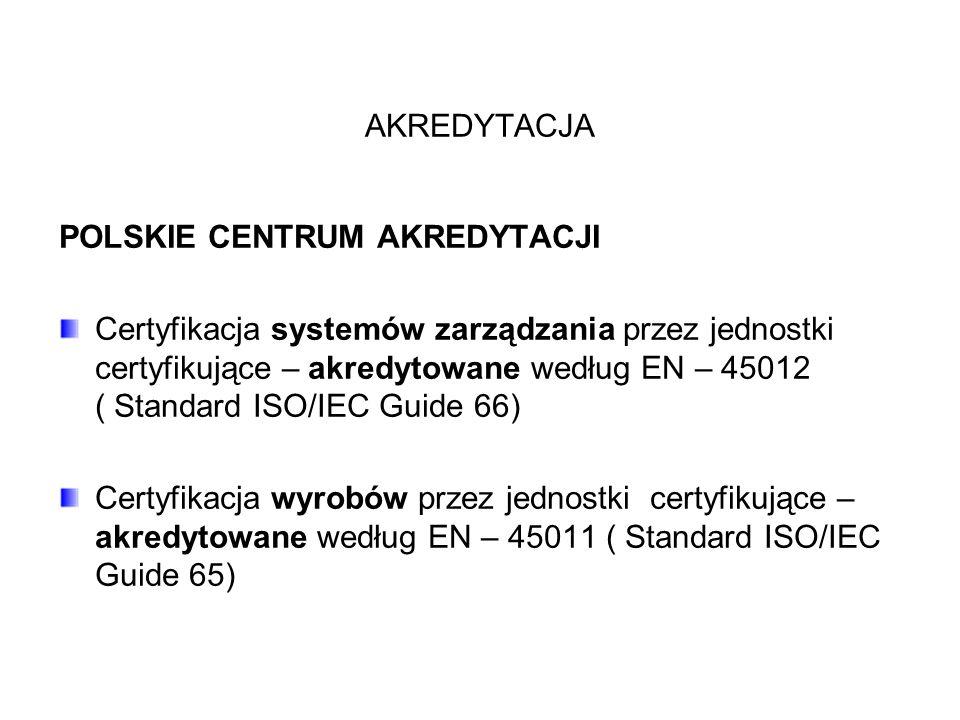 AKREDYTACJA POLSKIE CENTRUM AKREDYTACJI Certyfikacja systemów zarządzania przez jednostki certyfikujące – akredytowane według EN – 45012 ( Standard ISO/IEC Guide 66) Certyfikacja wyrobów przez jednostki certyfikujące – akredytowane według EN – 45011 ( Standard ISO/IEC Guide 65)