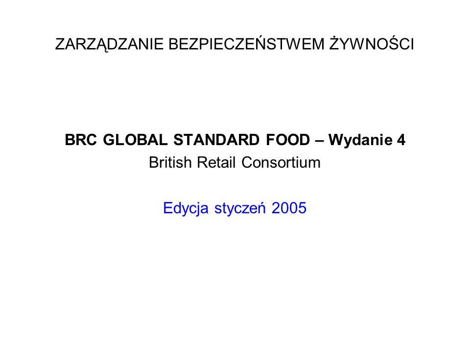 BRC GLOBAL STANDARD FOOD – Wydanie 4 British Retail Consortium Edycja styczeń 2005 ZARZĄDZANIE BEZPIECZEŃSTWEM ŻYWNOŚCI