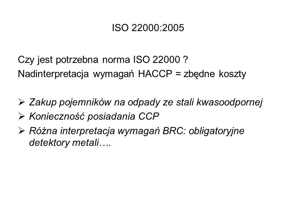 ISO 22000:2005 Czy jest potrzebna norma ISO 22000 ? Nadinterpretacja wymagań HACCP = zbędne koszty  Zakup pojemników na odpady ze stali kwasoodpornej