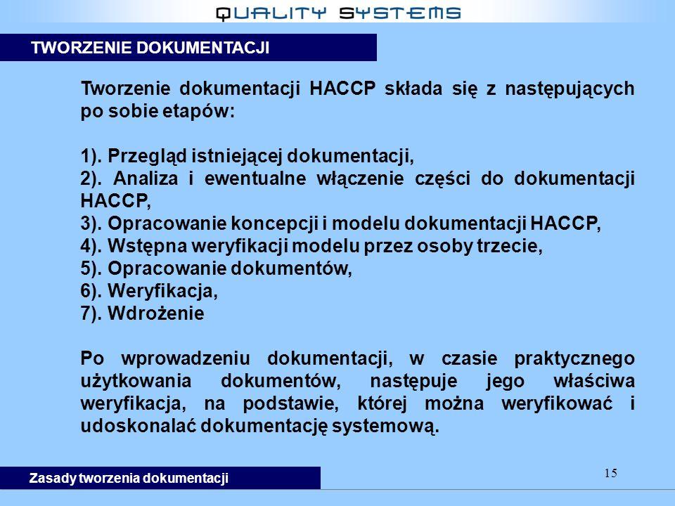 15 Zasady tworzenia dokumentacji TWORZENIE DOKUMENTACJI Tworzenie dokumentacji HACCP składa się z następujących po sobie etapów: 1).