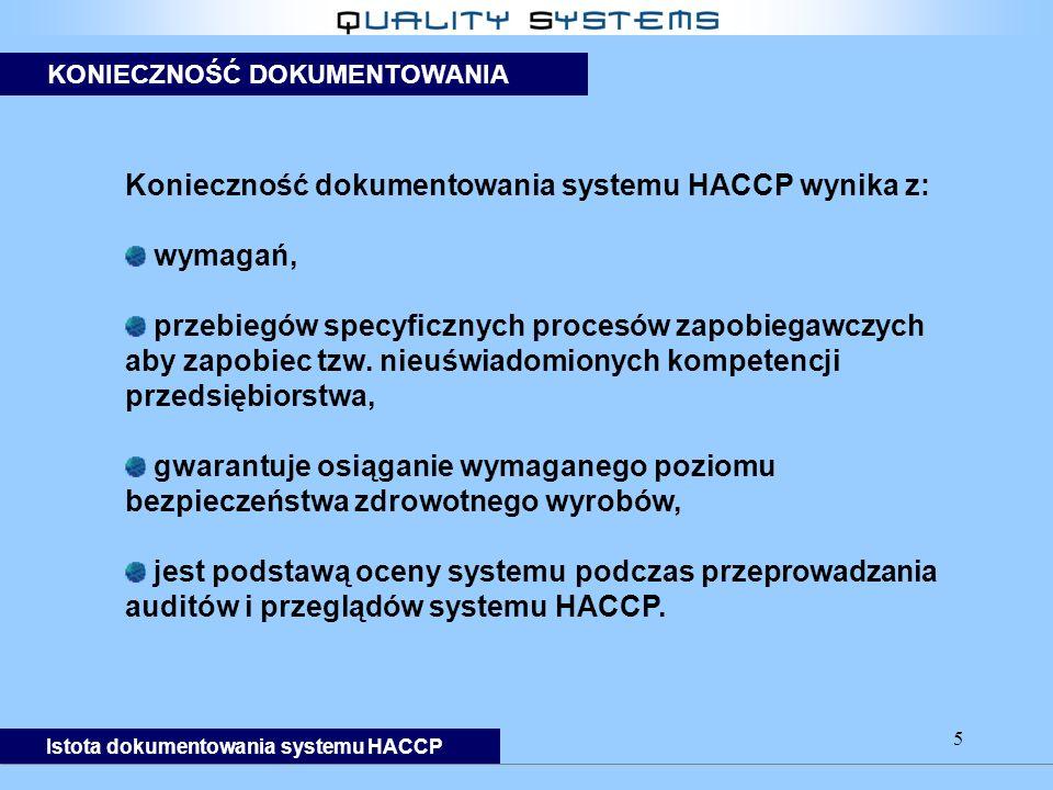 5 Konieczność dokumentowania systemu HACCP wynika z: wymagań, przebiegów specyficznych procesów zapobiegawczych aby zapobiec tzw.