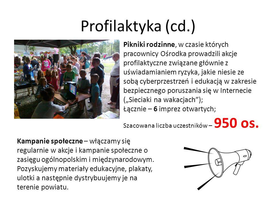 Profilaktyka (cd.) Pikniki rodzinne, w czasie których pracownicy Ośrodka prowadzili akcje profilaktyczne związane głównie z uświadamianiem ryzyka, jak