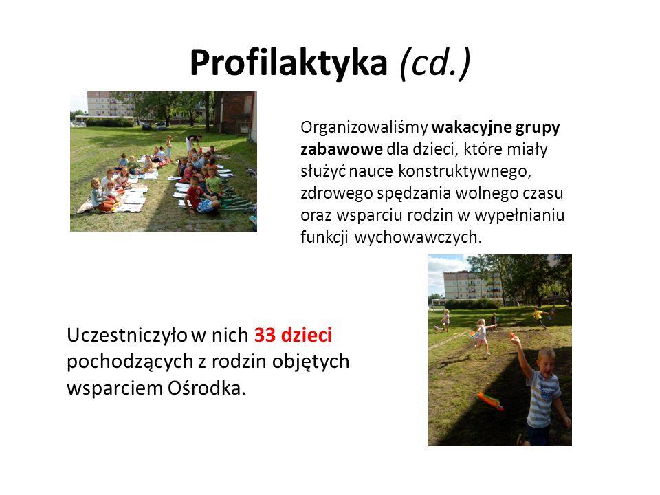 Profilaktyka (cd.) Organizowaliśmy wakacyjne grupy zabawowe dla dzieci, które miały służyć nauce konstruktywnego, zdrowego spędzania wolnego czasu ora