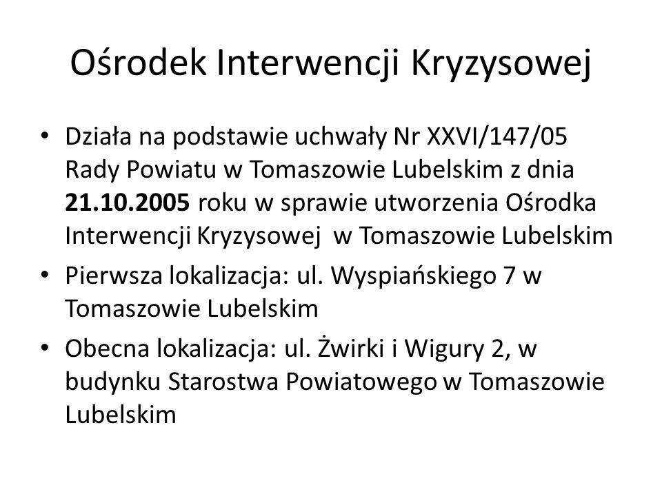 Ośrodek Interwencji Kryzysowej Działa na podstawie uchwały Nr XXVI/147/05 Rady Powiatu w Tomaszowie Lubelskim z dnia 21.10.2005 roku w sprawie utworze