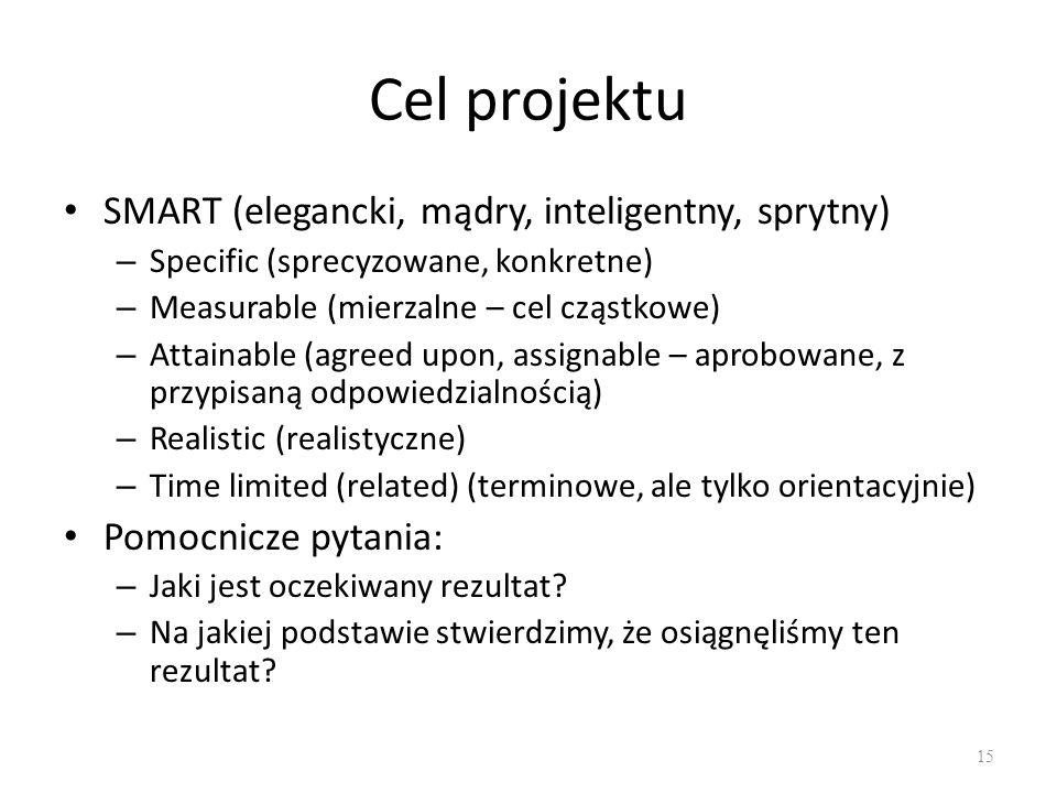 Cel projektu SMART (elegancki, mądry, inteligentny, sprytny) – Specific (sprecyzowane, konkretne) – Measurable (mierzalne – cel cząstkowe) – Attainable (agreed upon, assignable – aprobowane, z przypisaną odpowiedzialnością) – Realistic (realistyczne) – Time limited (related) (terminowe, ale tylko orientacyjnie) Pomocnicze pytania: – Jaki jest oczekiwany rezultat.