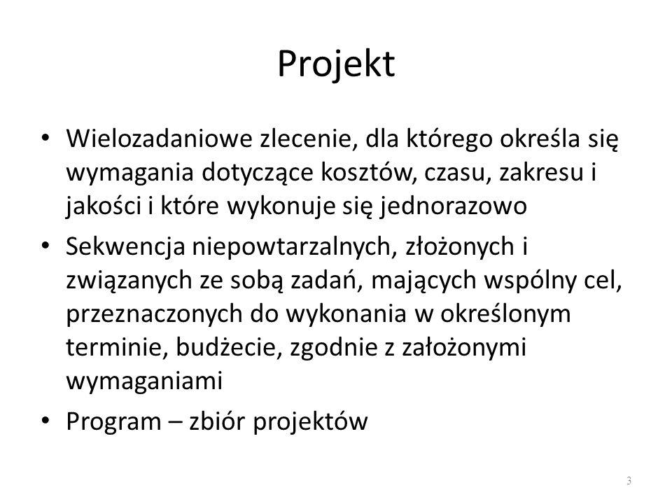 Określenie celów projektu Jeden główny cel Celów cząstkowych może być więcej – rozbicie celu głównego, wyznaczają zakres projektu 14