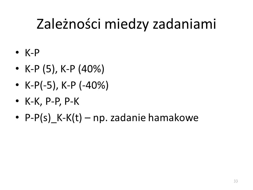 Zależności miedzy zadaniami K-P K-P (5), K-P (40%) K-P(-5), K-P (-40%) K-K, P-P, P-K P-P(s)_K-K(t) – np.
