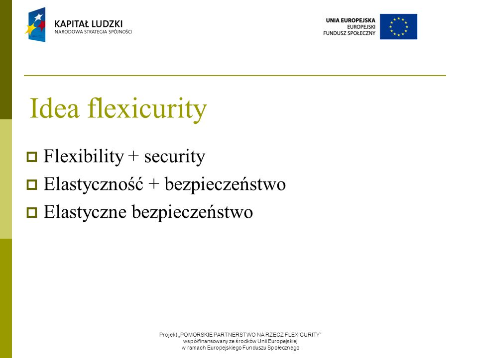 """Idea flexicurity  Flexibility + security  Elastyczność + bezpieczeństwo  Elastyczne bezpieczeństwo Projekt """"POMORSKIE PARTNERSTWO NA RZECZ FLEXICURITY współfinansowany ze środków Unii Europejskiej w ramach Europejskiego Funduszu Społecznego"""