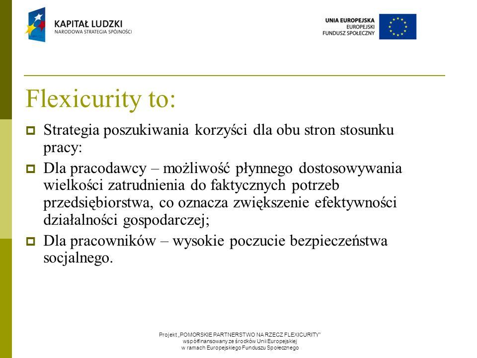 Flexicurity to:  Strategia poszukiwania korzyści dla obu stron stosunku pracy:  Dla pracodawcy – możliwość płynnego dostosowywania wielkości zatrudn