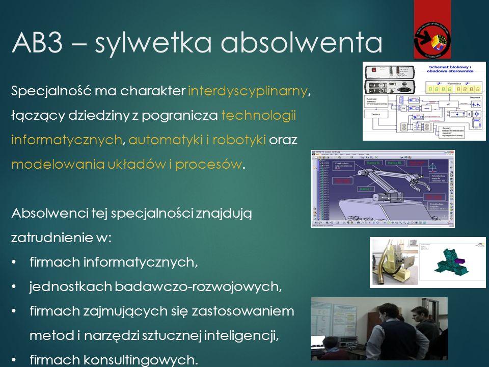 AB3 – sylwetka absolwenta Specjalność ma charakter interdyscyplinarny, łączący dziedziny z pogranicza technologii informatycznych, automatyki i roboty