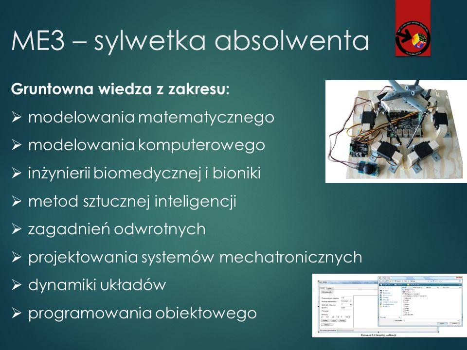 ME3 – sylwetka absolwenta Gruntowna wiedza z zakresu:  modelowania matematycznego  modelowania komputerowego  inżynierii biomedycznej i bioniki  m