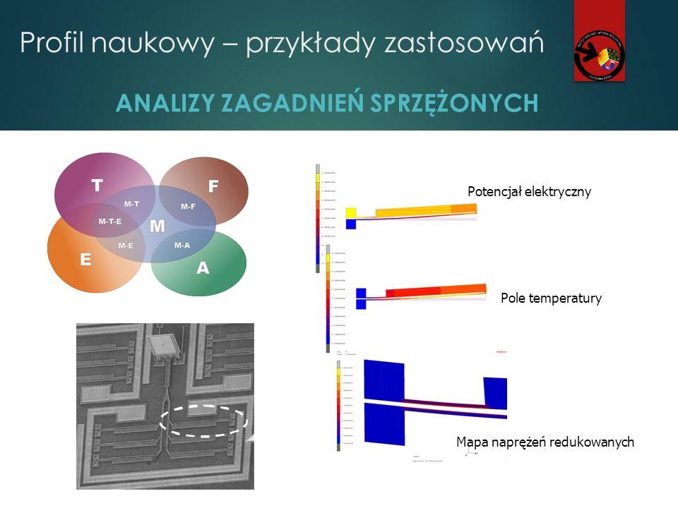 Profil naukowy – przykłady zastosowań ANALIZY ZAGADNIEŃ SPRZĘŻONYCH Potencjał elektryczny Pole temperatury Mapa naprężeń redukowanych