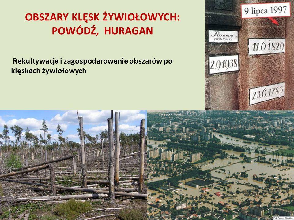 OBSZARY KLĘSK ŻYWIOŁOWYCH: POWÓDŹ, HURAGAN Rekultywacja i zagospodarowanie obszarów po klęskach żywiołowych