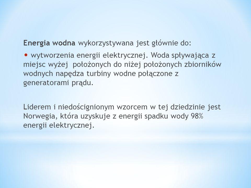 Energia wodna wykorzystywana jest głównie do: wytworzenia energii elektrycznej. Woda spływająca z miejsc wyżej położonych do niżej położonych zbiornik