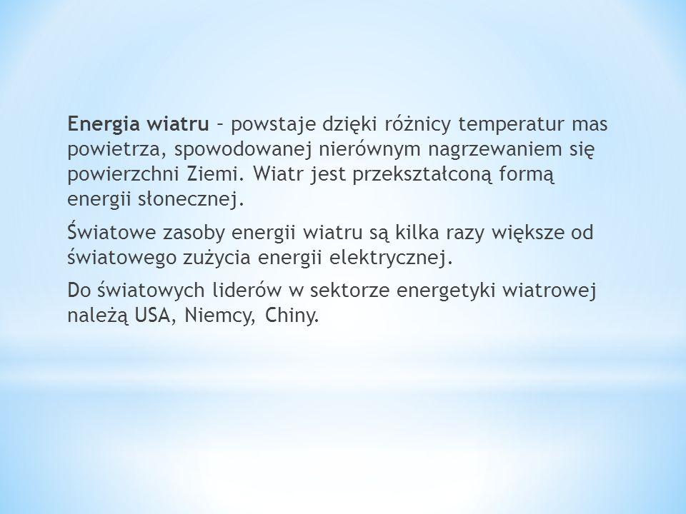 Energia wiatru – powstaje dzięki różnicy temperatur mas powietrza, spowodowanej nierównym nagrzewaniem się powierzchni Ziemi. Wiatr jest przekształcon