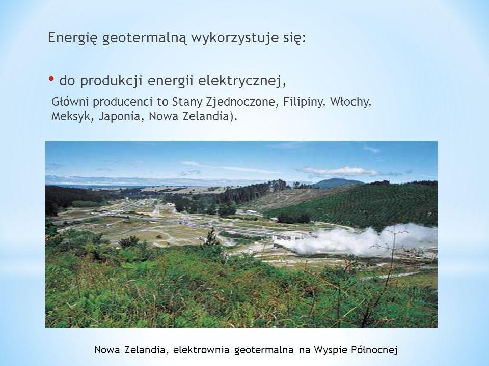Energię geotermalną wykorzystuje się: do produkcji energii elektrycznej, Główni producenci to Stany Zjednoczone, Filipiny, Włochy, Meksyk, Japonia, No