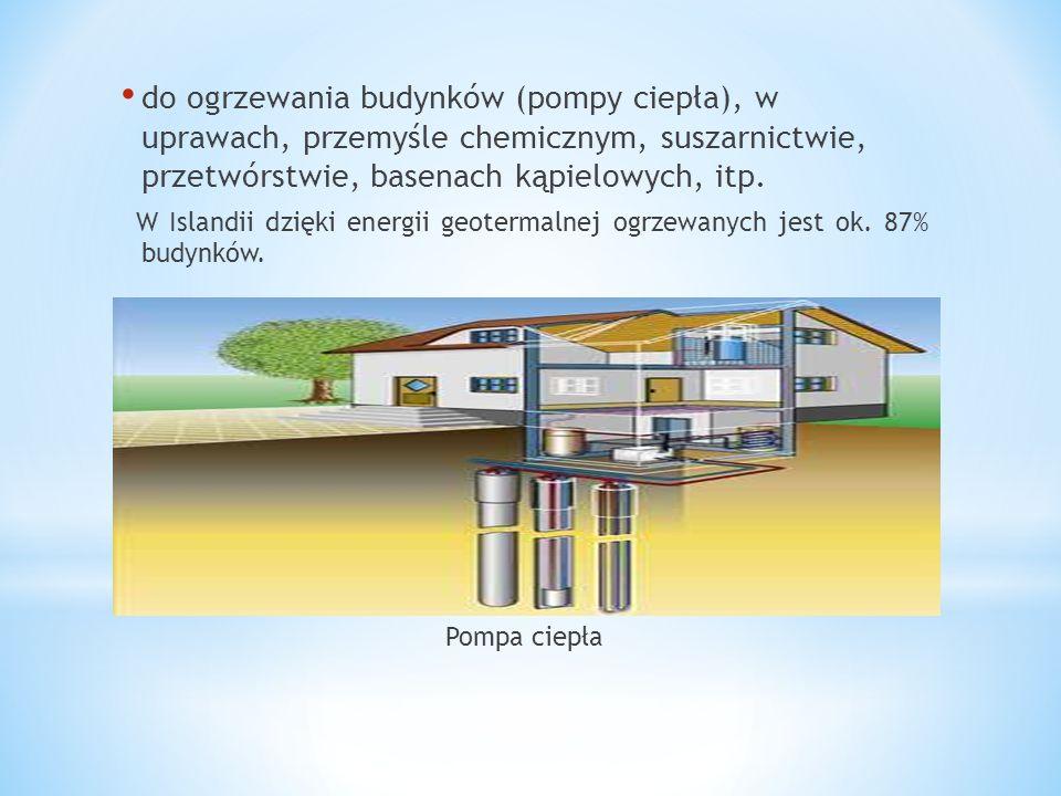 do ogrzewania budynków (pompy ciepła), w uprawach, przemyśle chemicznym, suszarnictwie, przetwórstwie, basenach kąpielowych, itp. W Islandii dzięki en