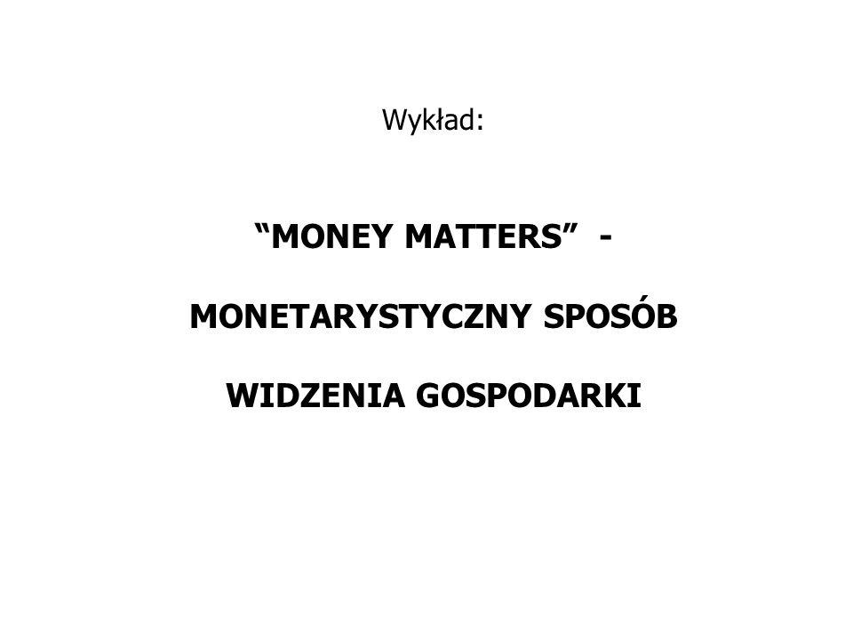 """Wykład: """"MONEY MATTERS"""" - MONETARYSTYCZNY SPOSÓB WIDZENIA GOSPODARKI"""