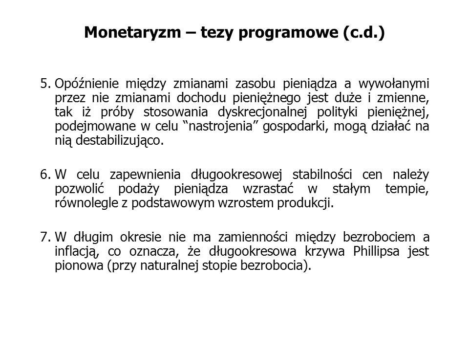 Monetaryzm – tezy programowe (c.d.) 5.Opóźnienie między zmianami zasobu pieniądza a wywołanymi przez nie zmianami dochodu pieniężnego jest duże i zmie