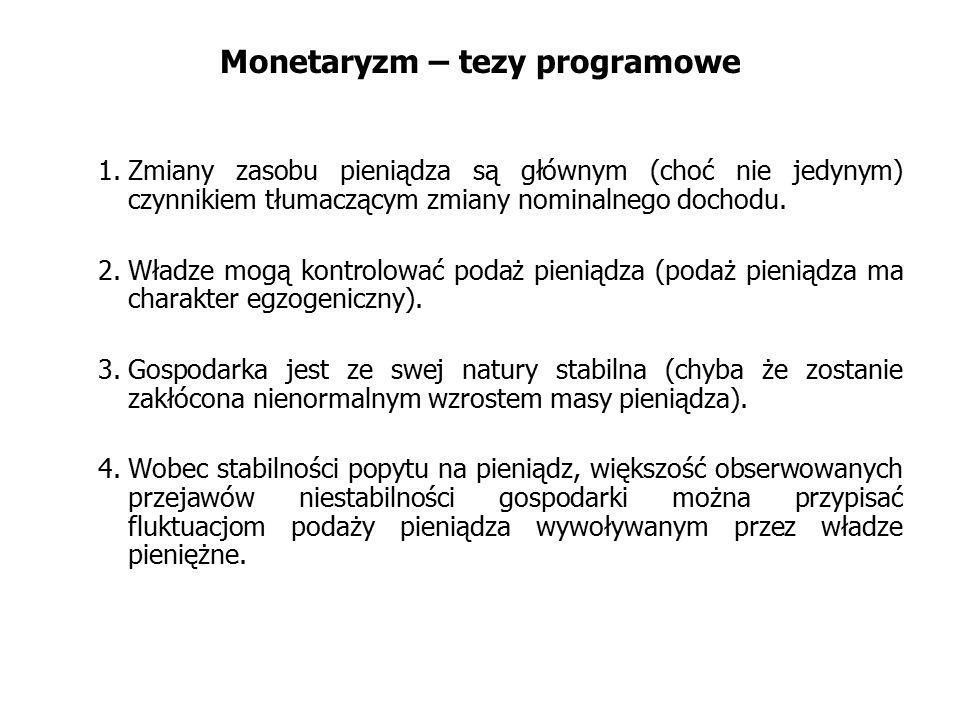 Monetaryzm – tezy programowe 1.Zmiany zasobu pieniądza są głównym (choć nie jedynym) czynnikiem tłumaczącym zmiany nominalnego dochodu. 2.Władze mogą