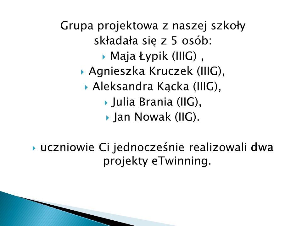 Grupa projektowa z naszej szkoły składała się z 5 osób:  Maja Łypik (IIIG),  Agnieszka Kruczek (IIIG),  Aleksandra Kącka (IIIG),  Julia Brania (IIG),  Jan Nowak (IIG).