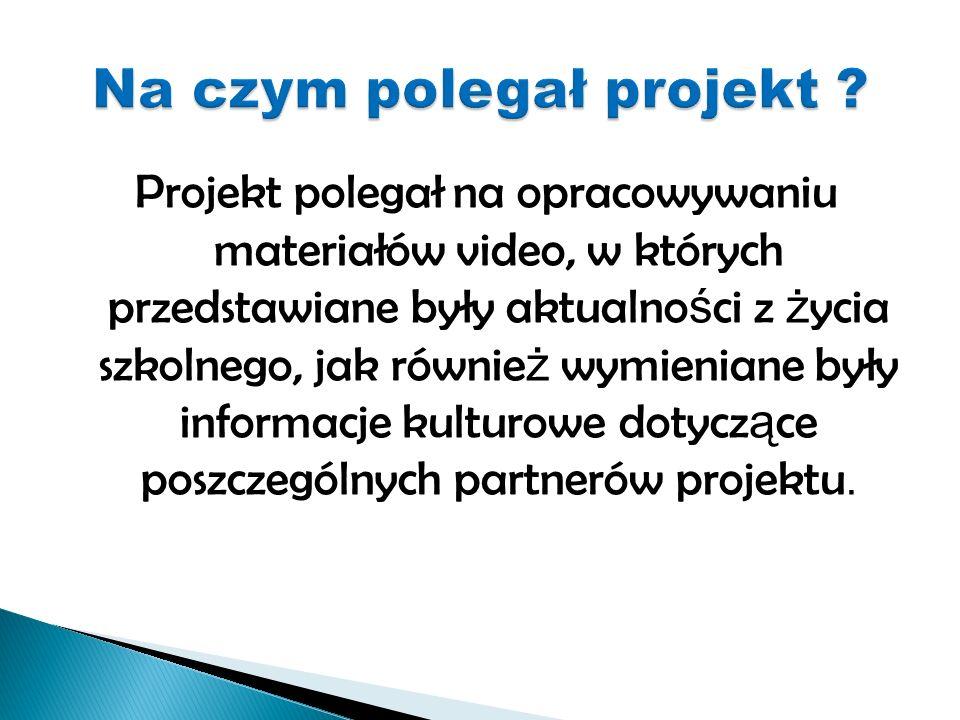 Projekt polegał na opracowywaniu materiałów video, w których przedstawiane były aktualno ś ci z ż ycia szkolnego, jak równie ż wymieniane były informacje kulturowe dotycz ą ce poszczególnych partnerów projektu.