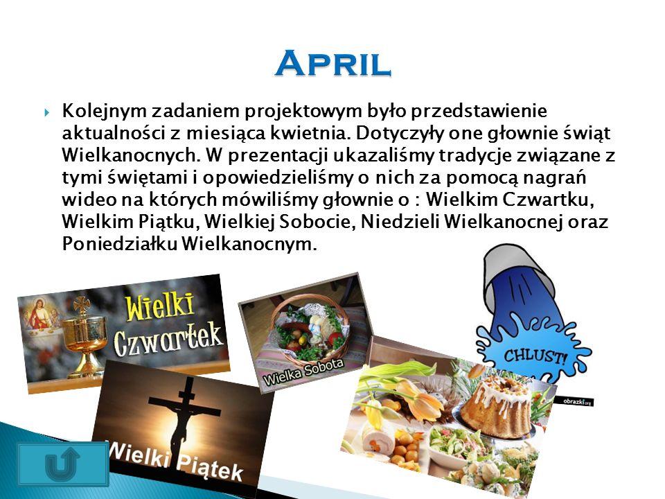  Kolejnym zadaniem projektowym było przedstawienie aktualności z miesiąca kwietnia.
