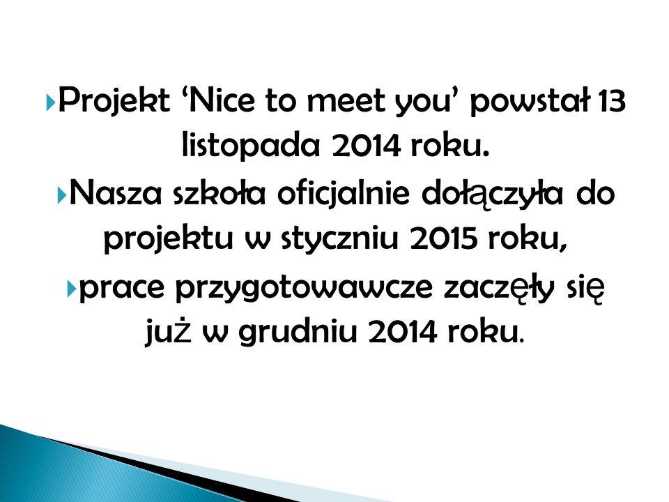  Projekt 'Nice to meet you' powstał 13 listopada 2014 roku.