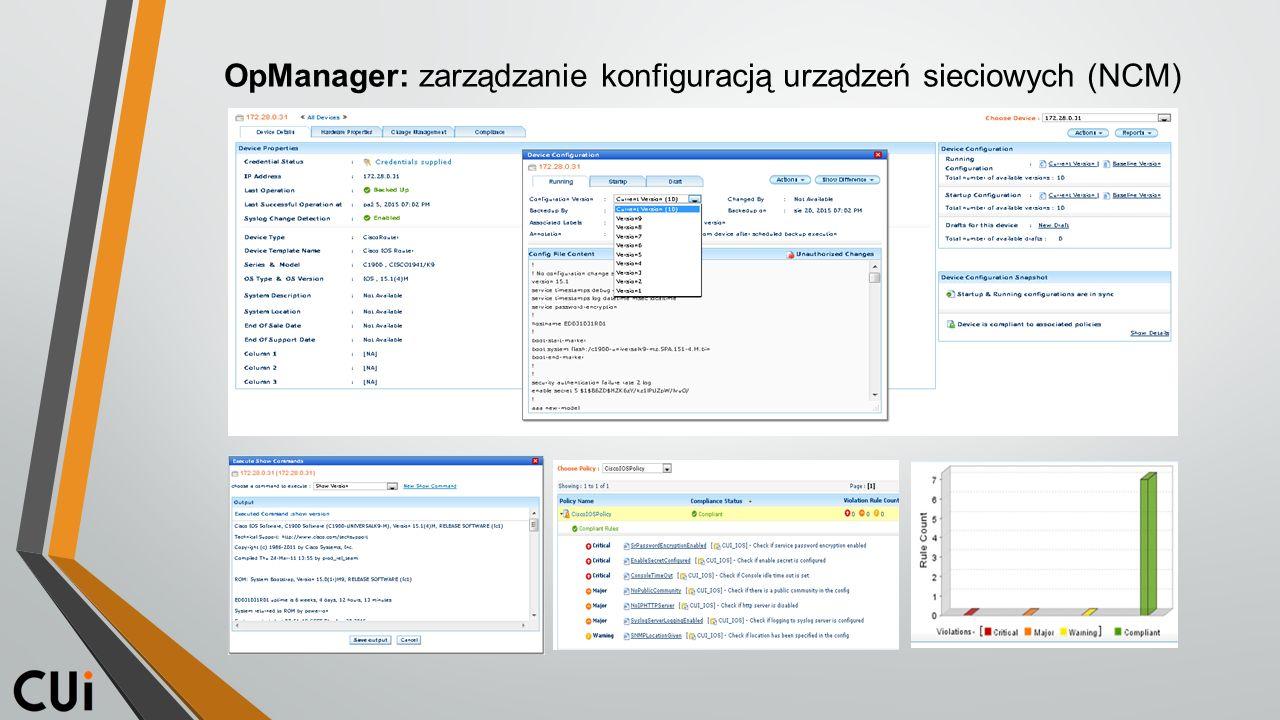 OpManager: zarządzanie konfiguracją urządzeń sieciowych (NCM)