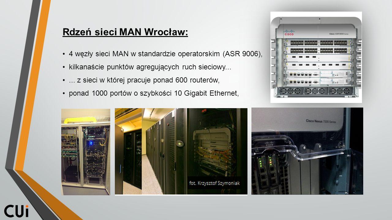 Rdzeń sieci MAN Wrocław: 4 węzły sieci MAN w standardzie operatorskim (ASR 9006), kilkanaście punktów agregujących ruch sieciowy......