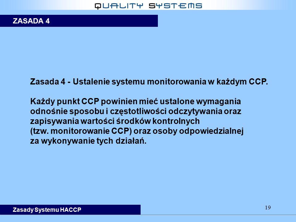 19 Zasada 4 - Ustalenie systemu monitorowania w każdym CCP. Każdy punkt CCP powinien mieć ustalone wymagania odnośnie sposobu i częstotliwości odczyty