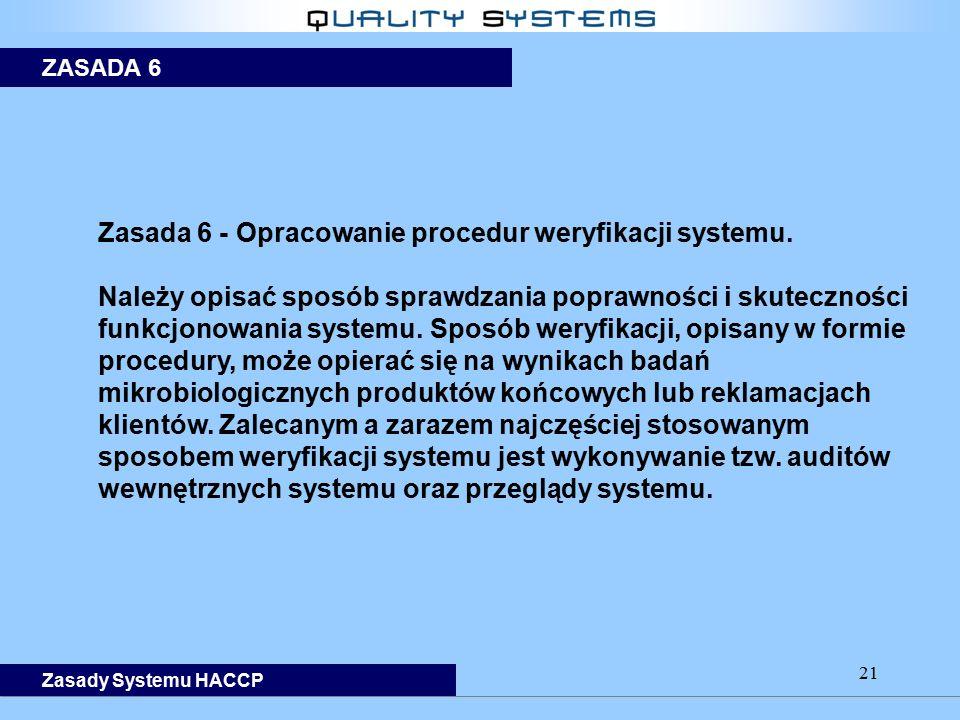 21 Zasada 6 - Opracowanie procedur weryfikacji systemu. Należy opisać sposób sprawdzania poprawności i skuteczności funkcjonowania systemu. Sposób wer