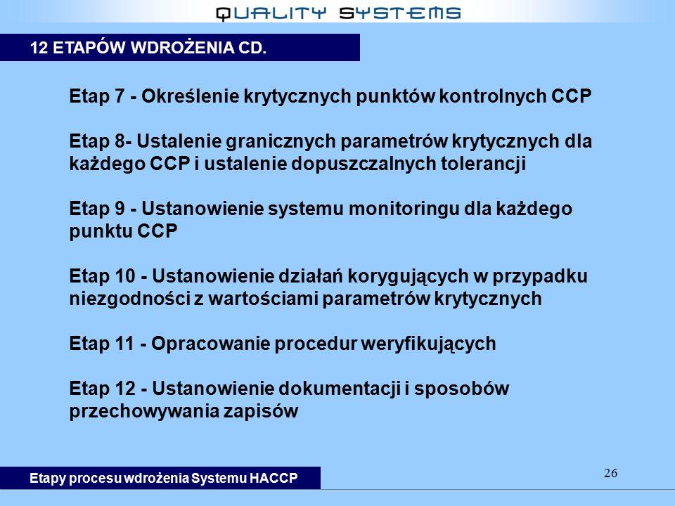 26 Etap 7 - Określenie krytycznych punktów kontrolnych CCP Etap 8- Ustalenie granicznych parametrów krytycznych dla każdego CCP i ustalenie dopuszczal