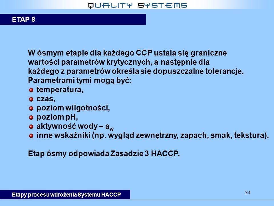 34 W ósmym etapie dla każdego CCP ustala się graniczne wartości parametrów krytycznych, a następnie dla każdego z parametrów określa się dopuszczalne