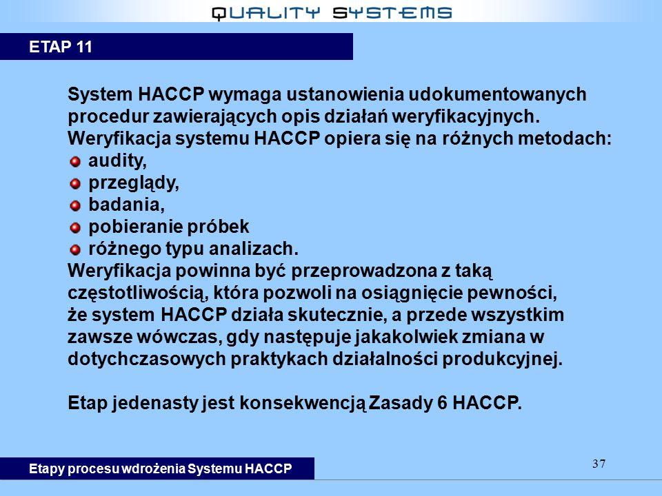 37 System HACCP wymaga ustanowienia udokumentowanych procedur zawierających opis działań weryfikacyjnych. Weryfikacja systemu HACCP opiera się na różn