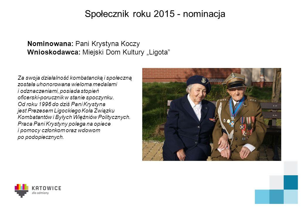 Społecznik roku 2015 - nominacja Centrum od 4 lat świadczy nieodpłatne usługi dla mieszkańców Katowic w zakresie poradnictwa prawnego, psychologicznego, socjalnego, przeciw przemocy.