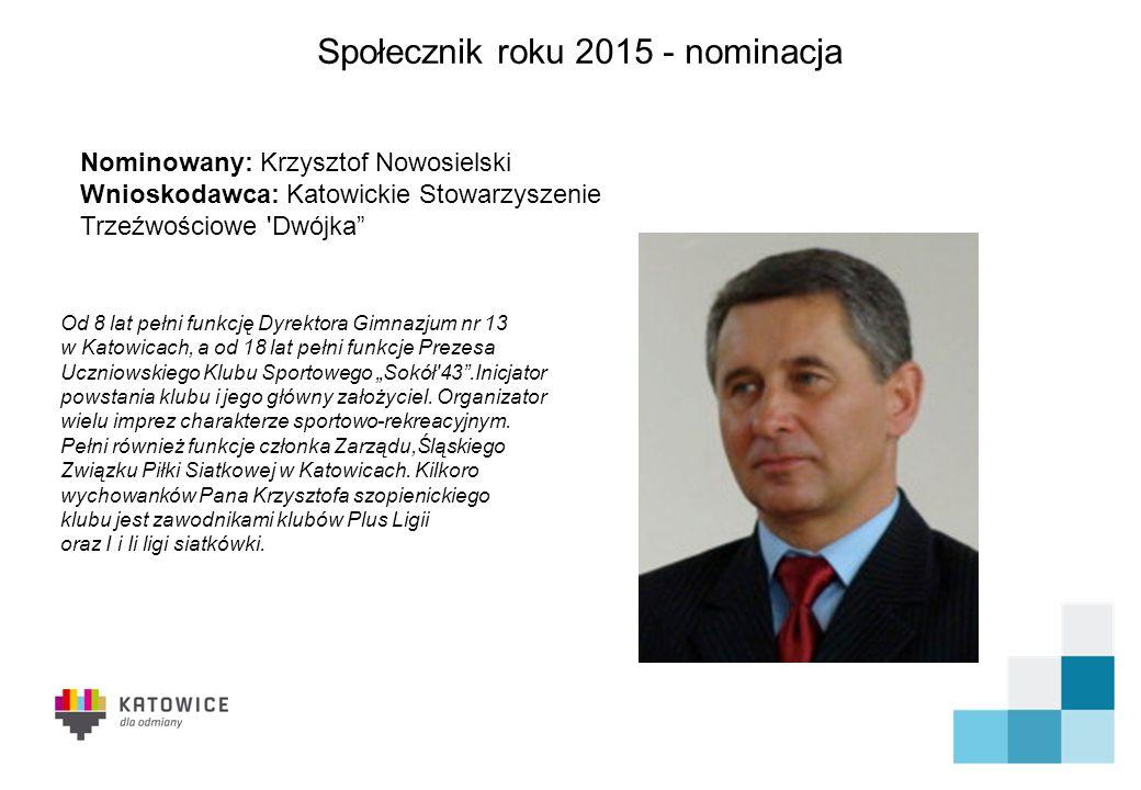 Społecznik roku 2015 - nominacja Stowarzyszenie działa na terenie miasta Katowice w dzielnicy Szopienice od prawie 30 lat.