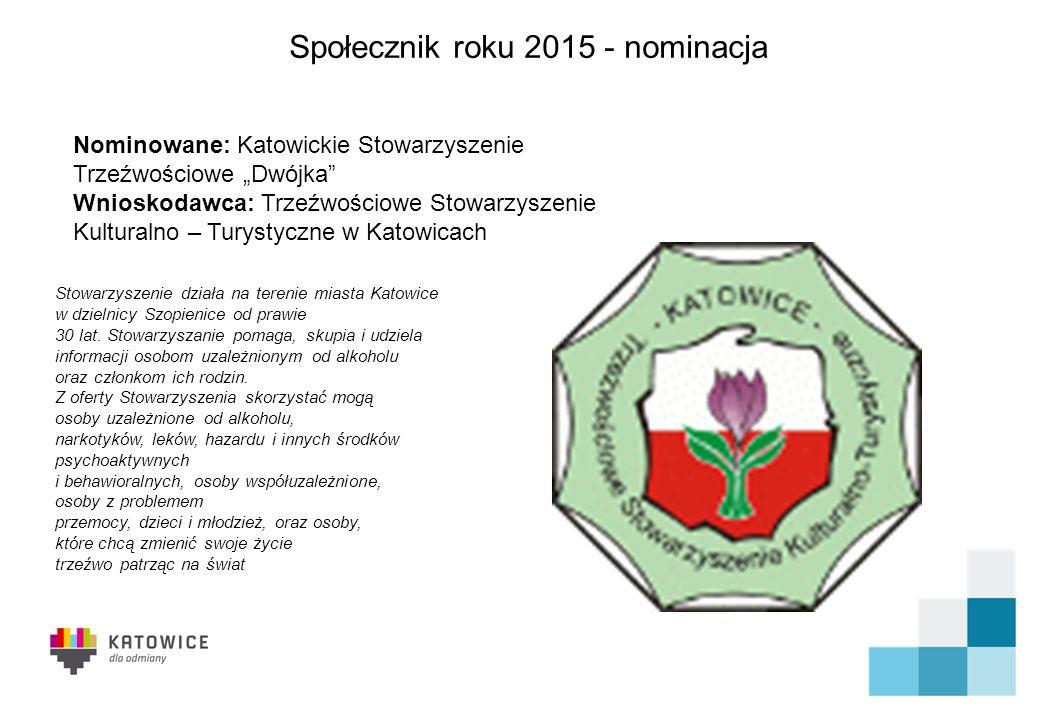 Społecznik roku 2015 - nominacja Od wielu lat związana z MDK Bogucice - Zawodzie oraz innymi organizacjami i grupami nieformalnymi działającymi na terenie miasta Katowice.