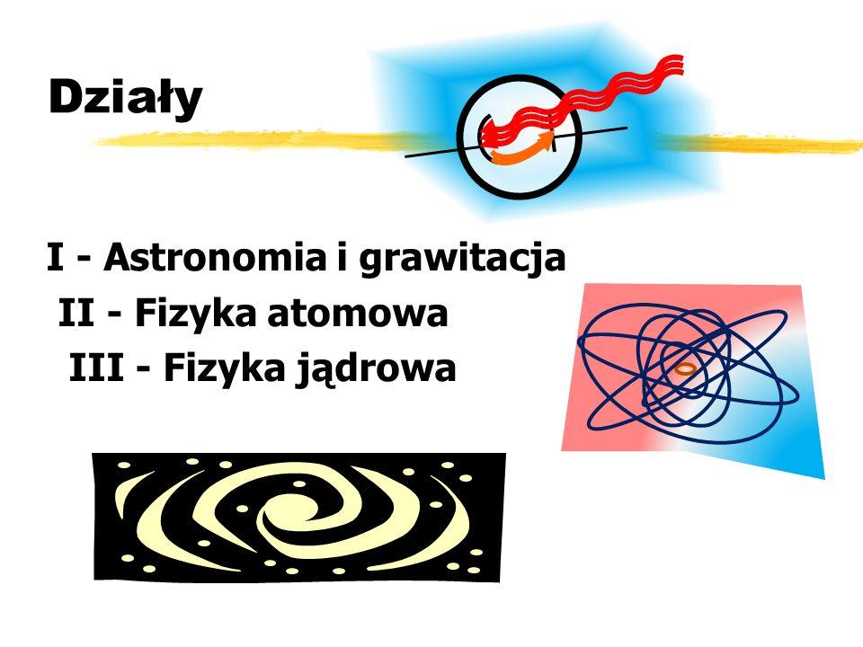 Działy I - Astronomia i grawitacja II - Fizyka atomowa III - Fizyka jądrowa