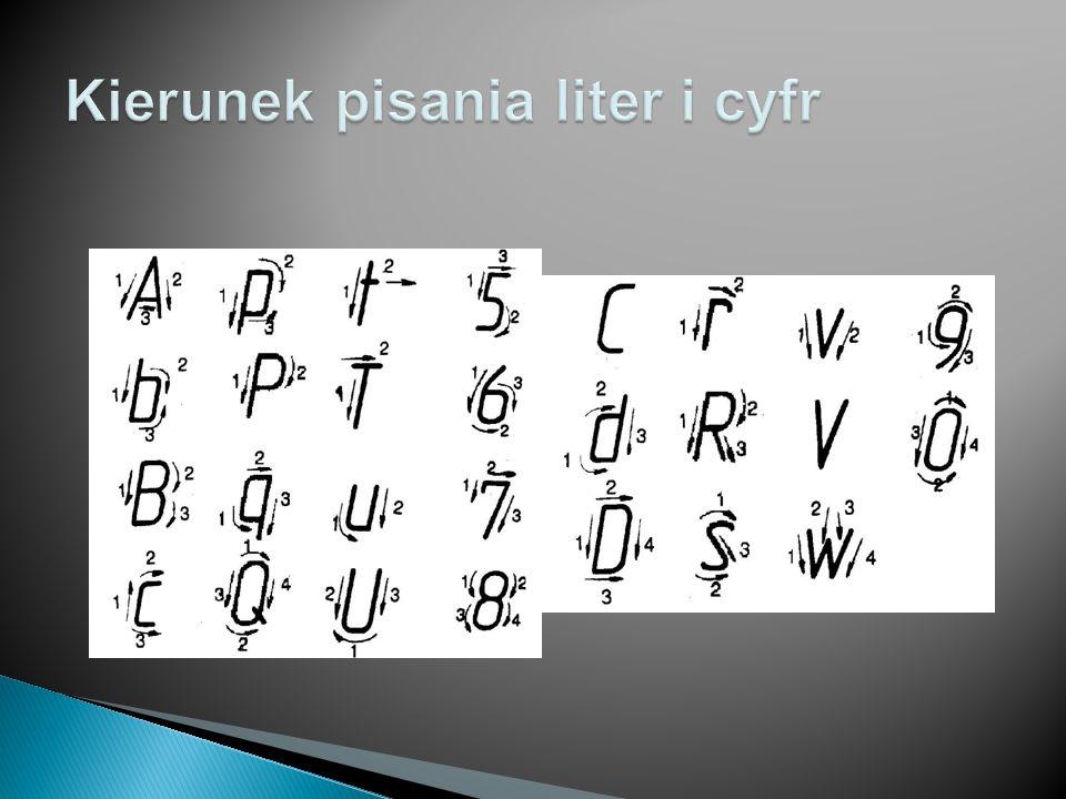 SzerokośćPrzykłady Bardzo wąskie 1d I, i 2d l 3d j, ł, 1 Wąskie4d J, c, f, r, t Normalne5d C, E, F, L, Ł, a, b, d, e, g, h, k, n, o, p, q, s, u, v, x, y, z, 2, 3, 5, 6, 7, 8, 9, 0 6d B, D, G, H, K, N, O, P, Q, R, S, T, U, Z, 4 Szerokie7d V, X, A, M, Y, m, w, V, X Bardzo szerokie 9d W
