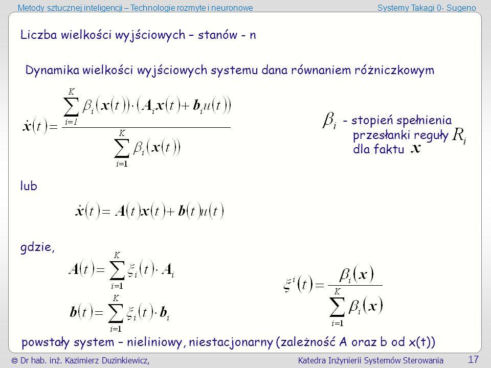  Dr hab. inż. Kazimierz Duzinkiewicz, Katedra Inżynierii Systemów Sterowania 17 Metody sztucznej inteligencji – Technologie rozmyte i neuronoweSystem